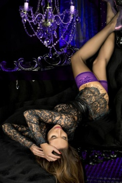 Purple Lace Top Black Hold Up Stockings