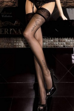 Ballerina Black Patterned Hold Up Stockings