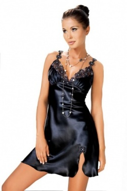Irall Satin Short Black Nightdress - Mirabelle