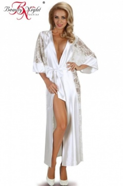 Bouquet White Satin & Lace Kimono Style Long Dressing Gown by Beauty Night