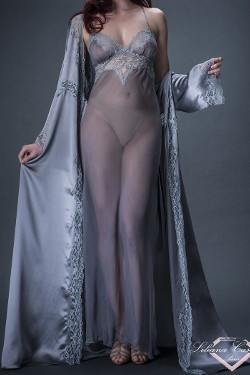 Contemporaine Silk Chiffon Long Nightdress by Liliana Casanova