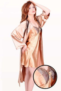 Gold Satin Robe - Dakota