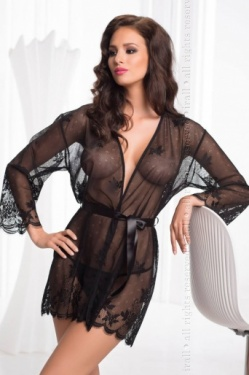 Irall Erotic Black Mesh Short Negligee - Diamond