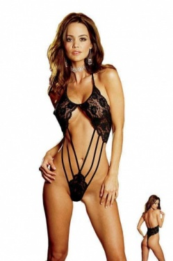 Black Lace Thong Back Teddy Dreamgirl 3895