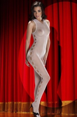 High Neckline White Mesh Body Stocking