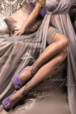 Grey Pattern Hold Ups