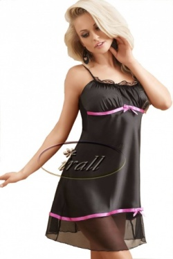 Irall Satin Short Black Satin Nightie - Harmony