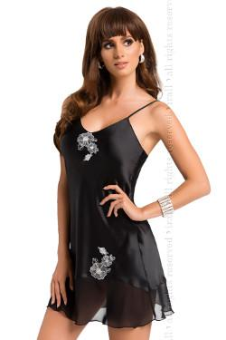 Black Satin Shift Style Nightdress Irall Ida