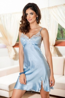 Irall Satin Pretty Pastel Blue Nightie - Linda