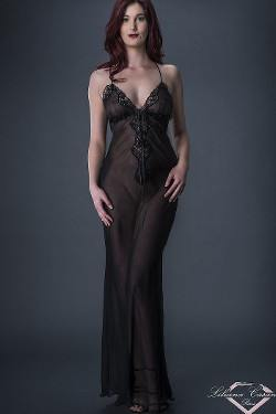 Lutece - Sheer Full Length Chiffon Nightgown by Liliana Casanova