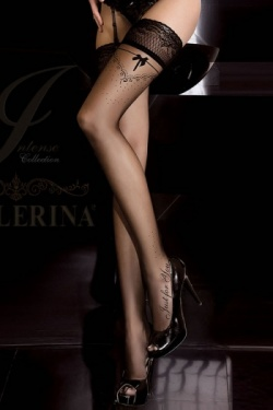 Ballerina 261 Black Patterned Hold Up Stockings