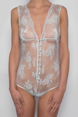 Pale Blue Lace Ribbon Bodysuit - Opaline by Sonata Lingerie