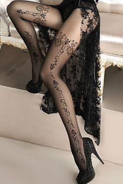Tights - Luxury Patterned Black Tights Ballerina Design 135