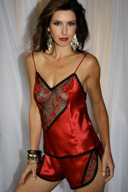 Red Silk Camisole & French Knickers Carmen by Diki