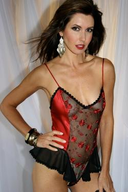 Red Silk Luxury Teddy - Carmen from Diki by Diane Rubach