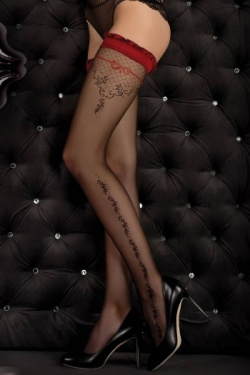 Red Top Black Pattern Hold Up Stockings