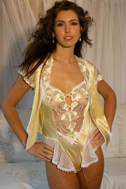 Thong Back Teddy in Lemon Silk - Jasmine by Diki