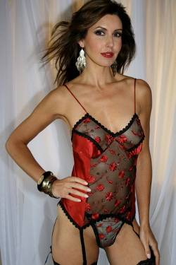 Red Silk Black Lace Soft Basque & Thong Set - Carmen by Diki