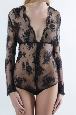 Long Sleeved Black Lace Bodysuit - Sonatine by Sonata Lingerie