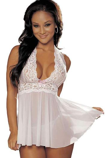 White Bridal Babydoll Nightie & String