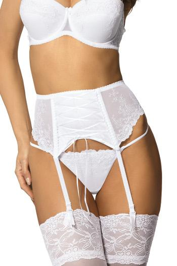 Yvette White Suspender Belt by Gorteks