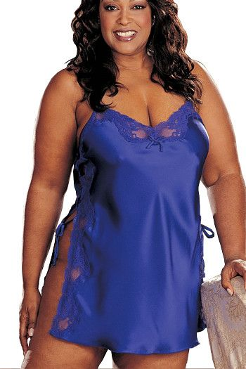 Blue Satin & Lace Plus Size Shift X20015 by Shirley of Hollywood